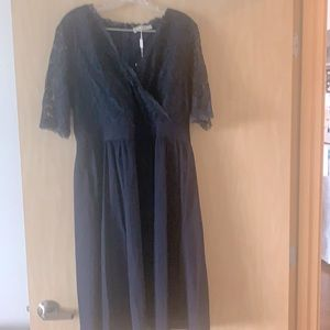 Navy Blue Size 16 semi-formal dress with lace